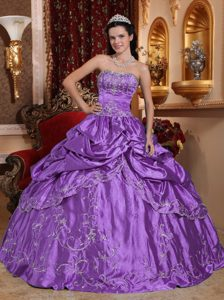 Purple Beaded Long Exquisite Quinceanera Gown Dresses with Embroidery