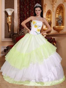 Fabulous Yellow Green and White Quinceanera Gowns under 200