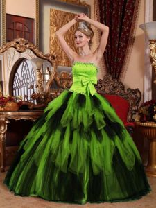 Strapless Beaded Tulle Long Sweet Sixteen Quinceanera Dresses with Ruffles