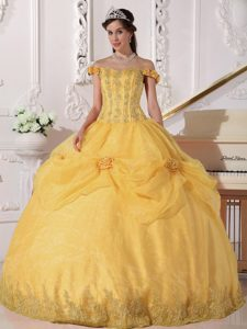 Sweet Off-the-shoulder and Fall Quinceanera Dress in Gold