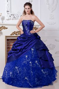 Dark Blue Ball Gown Strapless Quinceaneras Gowns and Organza