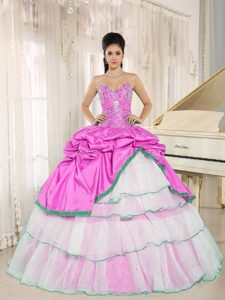 Sweet Sweetheart Beaded Pick-ups Dress for a Quince in Hot Pink and White