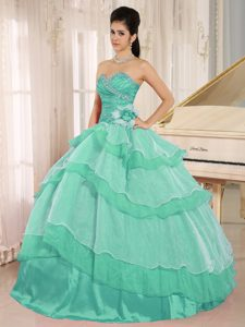 Sweetheart Beaded Sweet Sixteen Dresses with Ruffled Layers in Turquoise