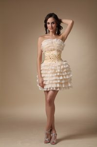 Champagne A-line Strapless Mini Cocktail Dress in with Beading