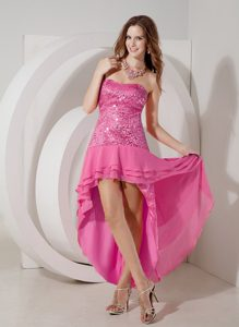 Discount High-low Chiffon Prom Cocktail Dress in Hot Pink Best Seller