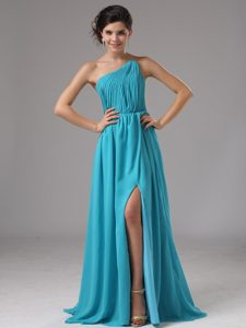 High Slit Strapless Aqua Blue Cocktail Dress with Ruching and High Slit