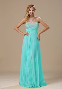 Baby Blue 2013 Prom Cocktail Dress with Pleats and Beading