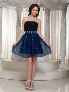 Informal Sequined Strapless Cocktail Dress with Beaded Sash to Mini Length
