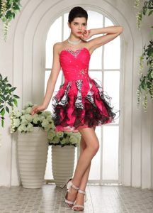 Sexy Beaded Sweetheart Mini-length Cocktail Dresses in Hot Pink and Black