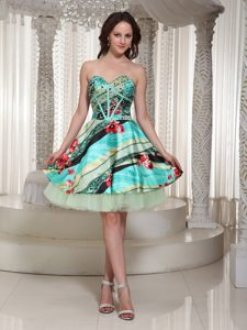 Top Printing Sweetheart Cocktail Dresses to Mini-length with Beading in Tulle