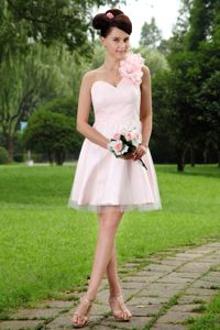 Shimmery Light Pink A-line One Shoulder Mini-length Tulle Cocktail Dresses