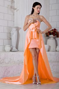 Extravagant Orange Empire Beading Sweetheart Cocktail Dress with High-low