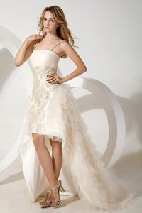 Dramatic White Column High-low Tulle Cocktail Dress with Spaghetti Straps