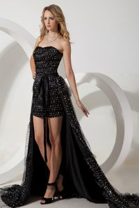 Unique Black Sweetheart Celebrity High-low Cocktail Dress in Special Fabric