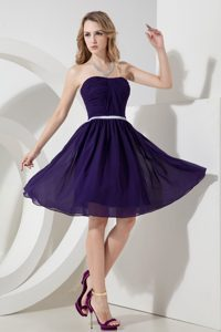 High End Purple A-line Strapless Knee-length Chiffon Ruching Cocktail Dress