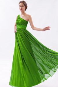 Spring Green One Shoulder Long Ruched Beaded Chiffon Cocktail Dresses