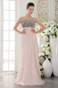 Baby Pink Sweetheart Long Chiffon Dress for Cocktail Party with Beading