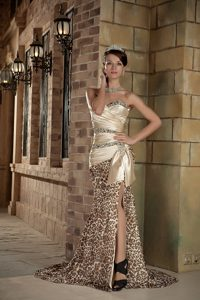 Champagne and Leopard Brush Train Cocktail Dress with Beading and Slit