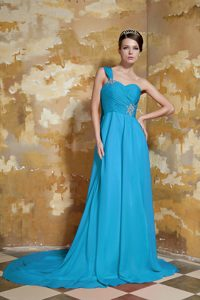 One Shoulder Brush Train Aqua Blue Ruched Chiffon Cocktail Dress with Appliques