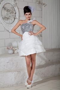 One Shoulder Mini-length Silver Sequin and White Cocktail Dress for Cheap