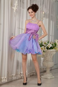 Spaghetti Straps Mini-length Multi-colored Ruched Cocktail Party Dress with Sash