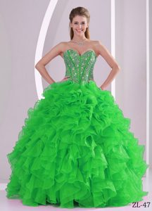 Beading Ball Gown Sweetheart Spring Green Sweet 15 Dresses with Ruffles