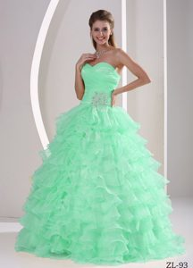 Sweetheart Appliques Quinceaners Gowns for Military Ball in Apple Green with Ruffles