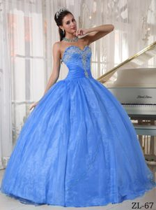 Sweetheart Baby Blue Appliques Quinceanera Dress and Organza