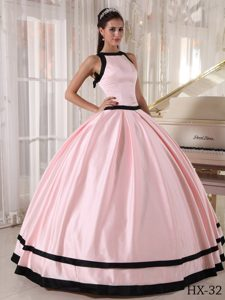 Discount Pink and Black Bateau Long Sweet Sixteen Dresses