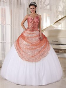 Rust Red and White Straps Appliqued Quinceanera Gown in Tulle and Sequin