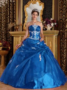 Noble Teal Strapless Quinces Dresses with Appliques