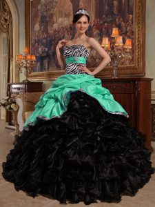 Green and Black and Quinceanera Dresses with Pick-ups