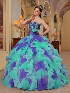 Multi-color Sweetheart Beaded Quinces Dresses with Ruffles on Sale