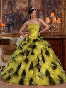 Multi-color Strapless Beaded Quinceanera Dress with Ruffles