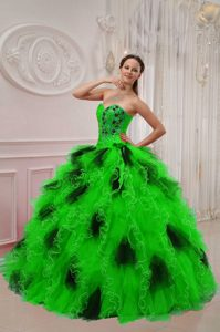 Green and Black Beaded and Ruched Quinceanera Gown Dresses