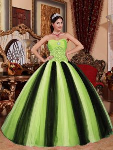 Fitted Multi-colored Sweetheart and Tulle Beading Quinceanera Gown