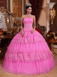 Magnificent Strapless Long and Lace Quinces Dress in Pink
