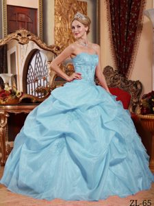 Strapless Long Appliqued Light Blue Quinceanera Dress