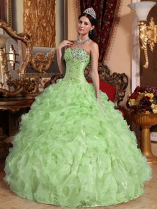 Discount Sweetheart Yellow Green Beaded Quinceaneras Dress with Ruffles