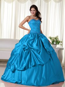 Aqua Blue Sweetheart Romantic Quinceanera Dress with Embroidery