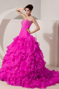 Magnificent Princess Sweetheart Brush Train Dress for Quinceaneras