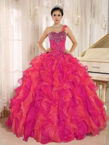 Magnificent Red One Shoulder Beaded and Ruffled Quinceanera Dress