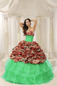 Romantic and Lace-up Leopard Dress for Quinceaneras with Beading