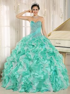Apple Green Beaded and Ruffled Discount Quince Dresses with Lace-up Back