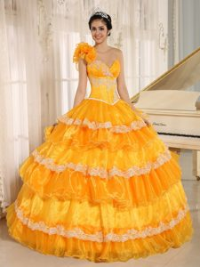 Elegant One Shoulder Appliqued Orange Quinceanera Dresses with Flowers