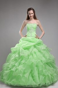 Spring Green Strapless Long 2013 Gorgeous Sweet 15 Dress