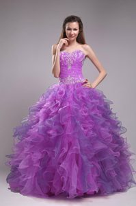 Strapless Lavender Popular Quinceanera Gown Dress with Ruffles