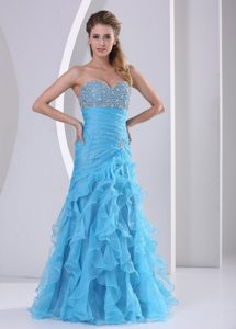 Sweetheart Long Ruched Prom Evening Dresses with Beading and Ruffles