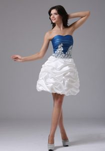 Blue and White Sweetheart Mini-length Prom Cocktail Dress with Appliques and Pick-ups