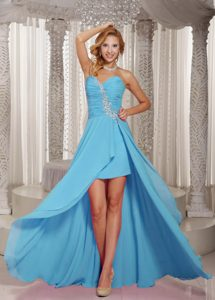 Chic Sweetheart High-low Baby Blue Ruched Chiffon Prom Pageant Dress with Appliques
